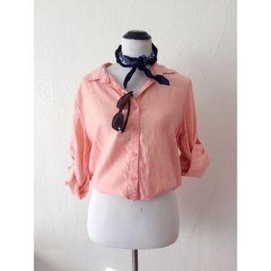 CLOTH & STONE pink peach button down long sleeve